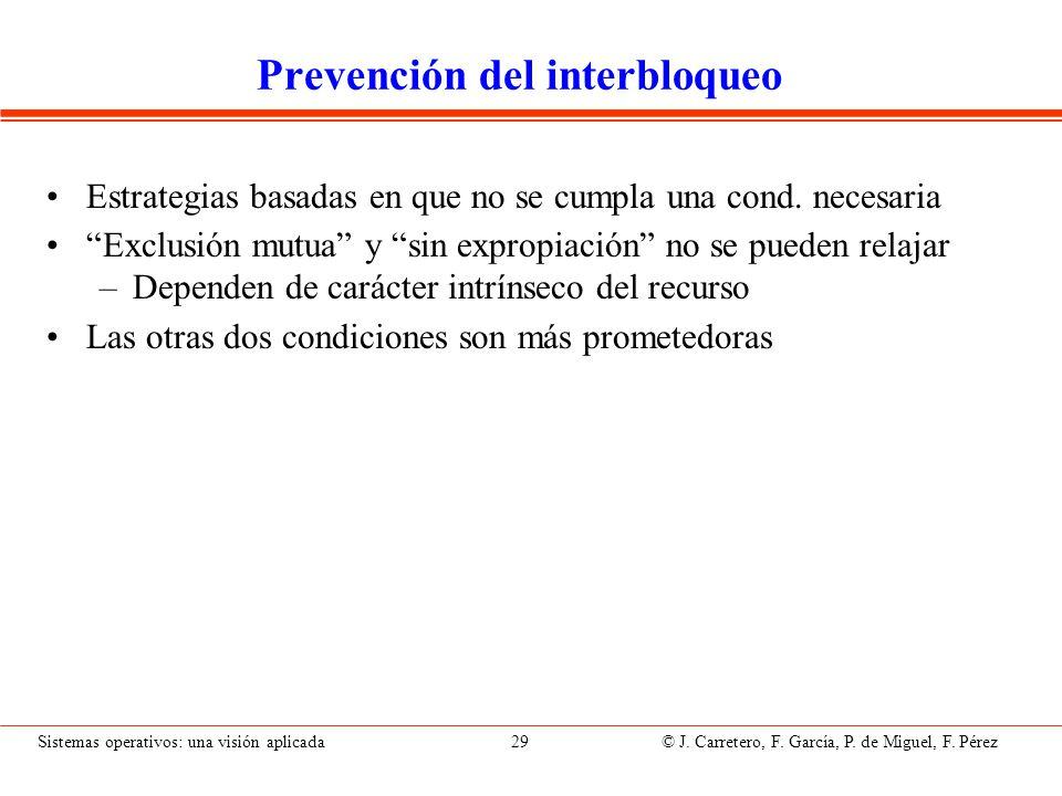 Prevención basada en evitar retención y espera