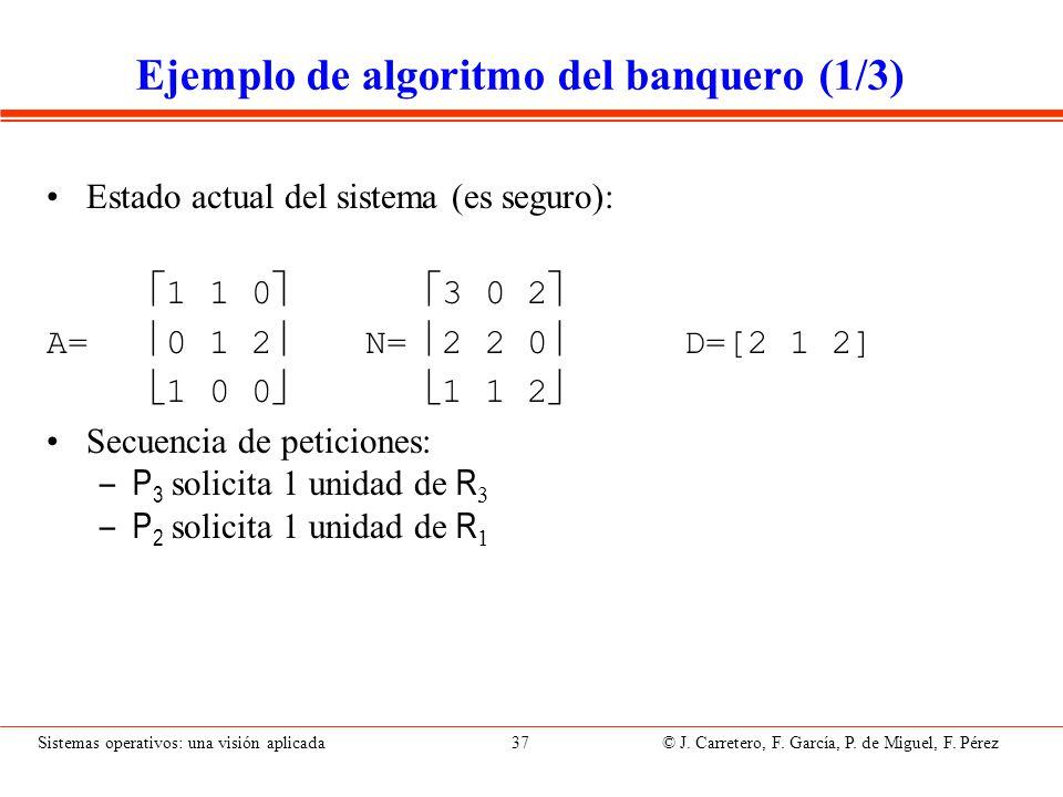 Ejemplo de algoritmo del banquero (2/3)
