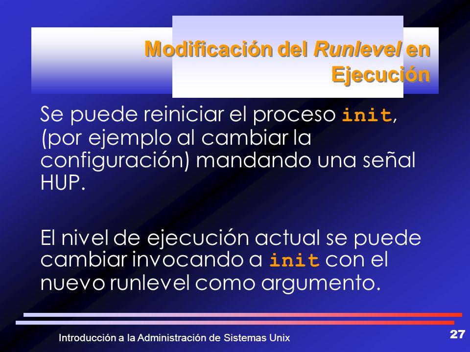 Modificación del Runlevel en Ejecución