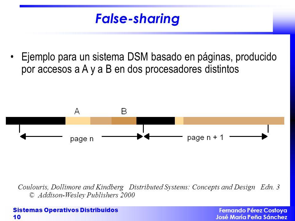 False-sharing Ejemplo para un sistema DSM basado en páginas, producido por accesos a A y a B en dos procesadores distintos.