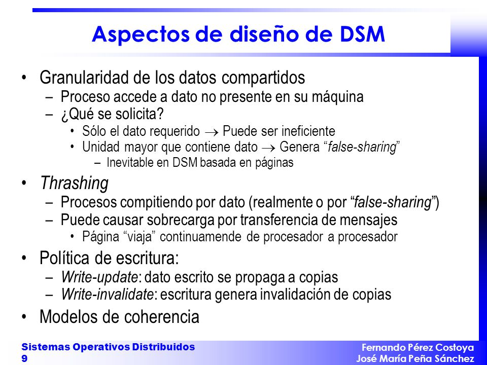 Aspectos de diseño de DSM
