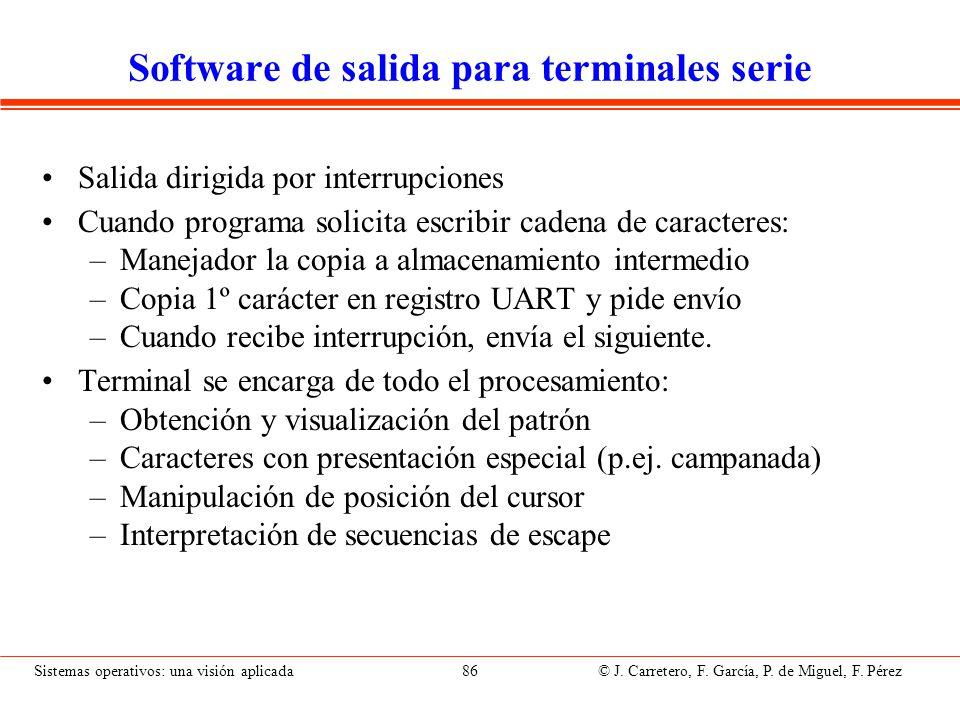 Software de salida para terminales proyectados