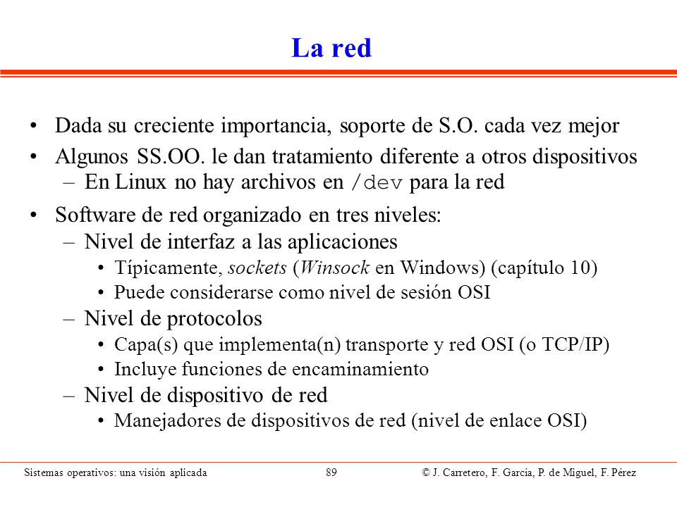 Niveles del software de red