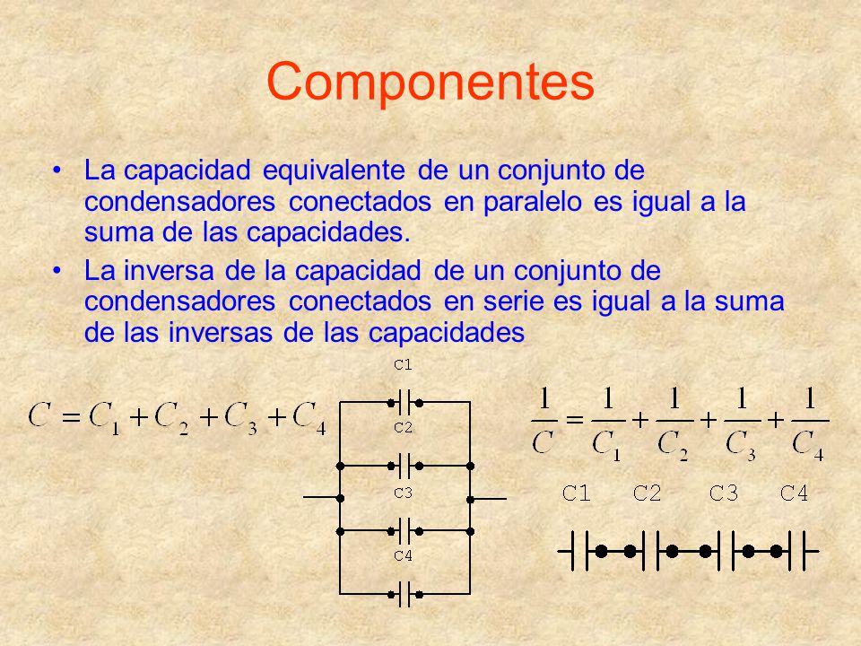 Componentes La capacidad equivalente de un conjunto de condensadores conectados en paralelo es igual a la suma de las capacidades.
