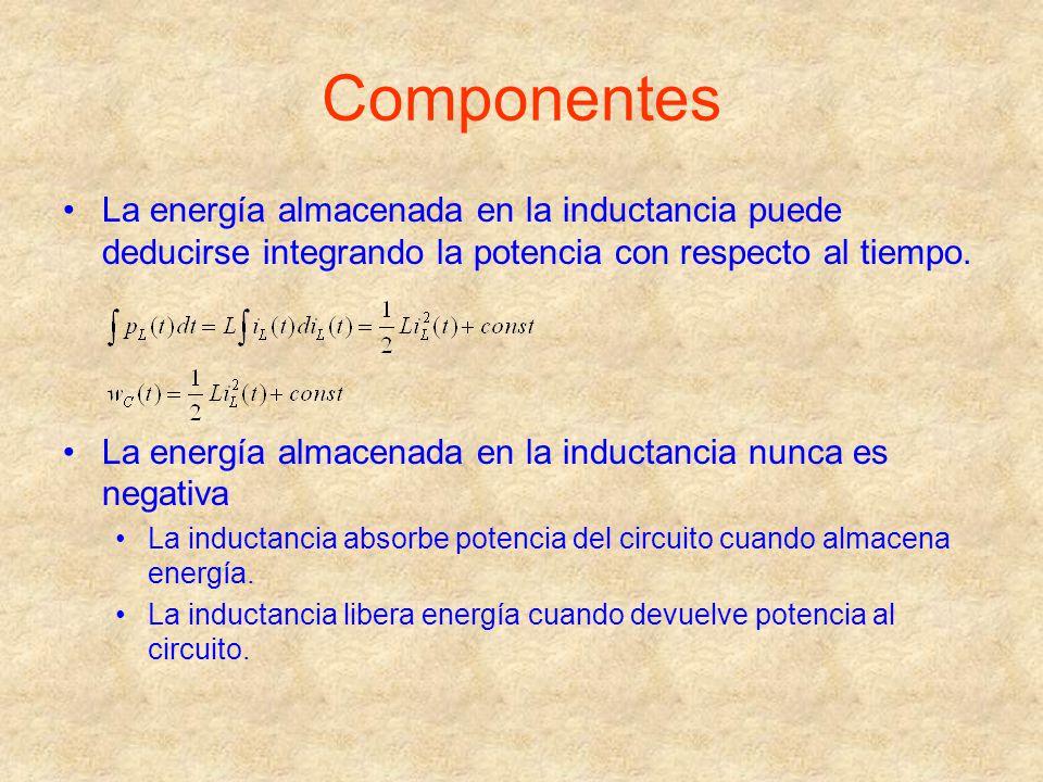 Componentes La energía almacenada en la inductancia puede deducirse integrando la potencia con respecto al tiempo.