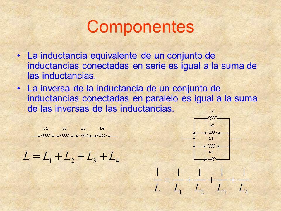 Componentes La inductancia equivalente de un conjunto de inductancias conectadas en serie es igual a la suma de las inductancias.