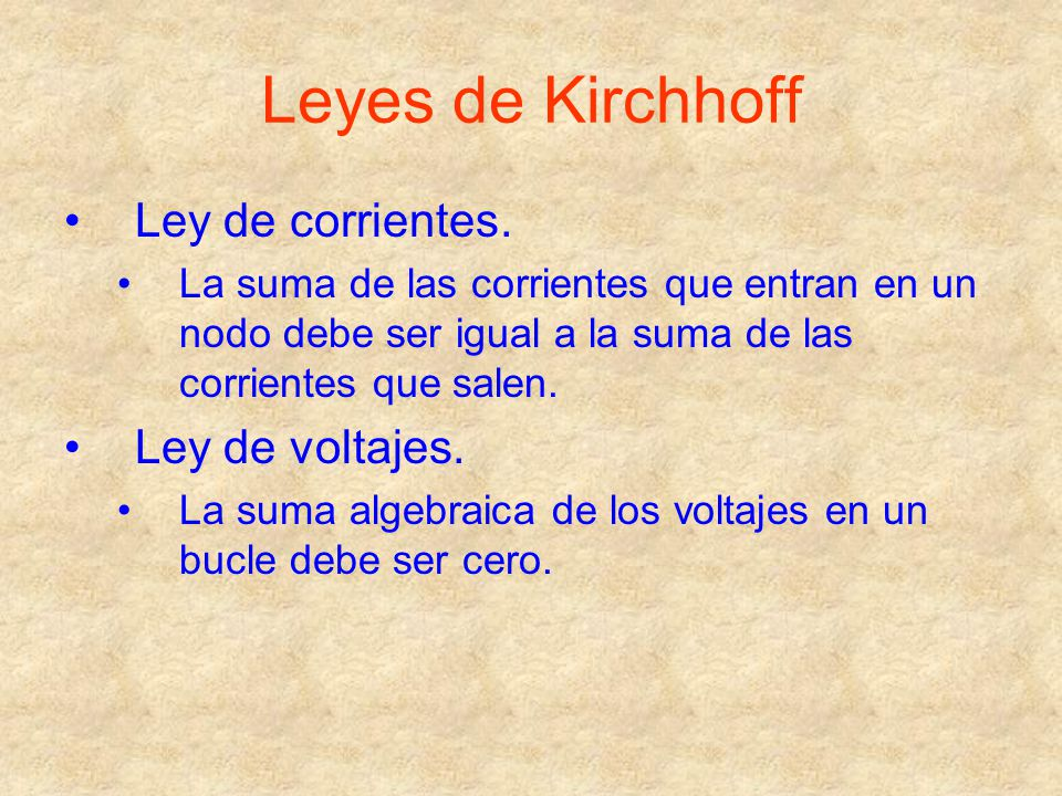 Leyes de Kirchhoff Ley de corrientes. Ley de voltajes.