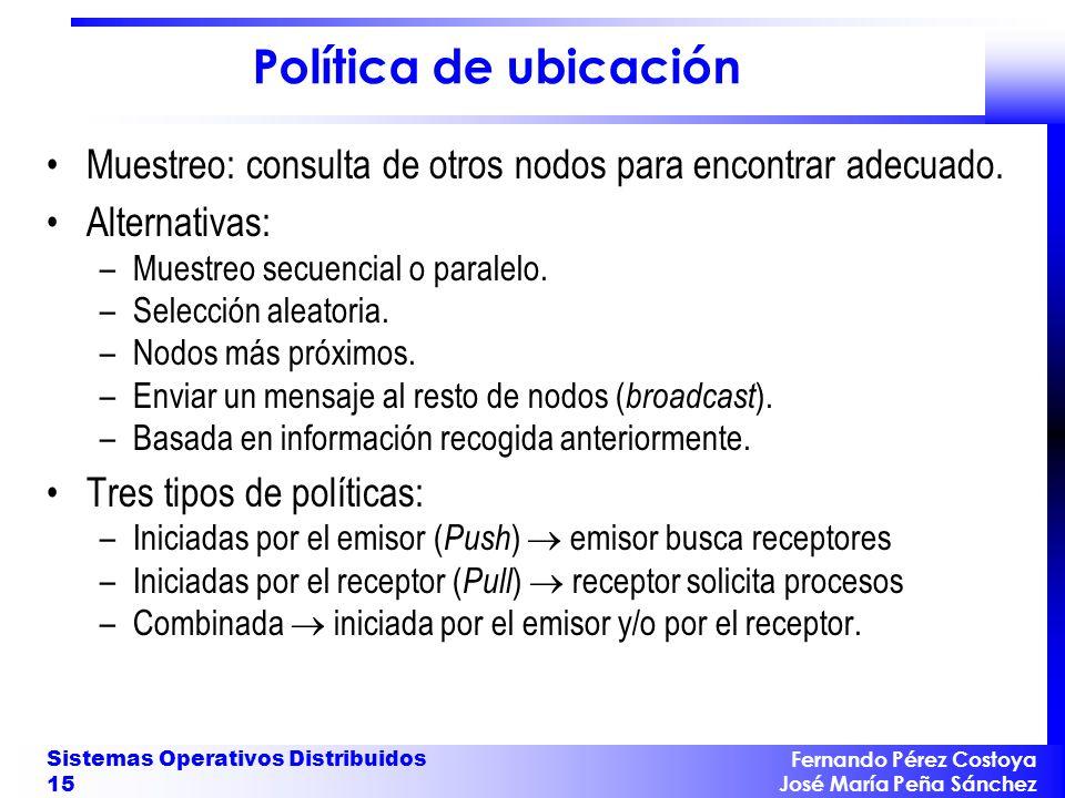 Política de ubicación Muestreo: consulta de otros nodos para encontrar adecuado. Alternativas: Muestreo secuencial o paralelo.