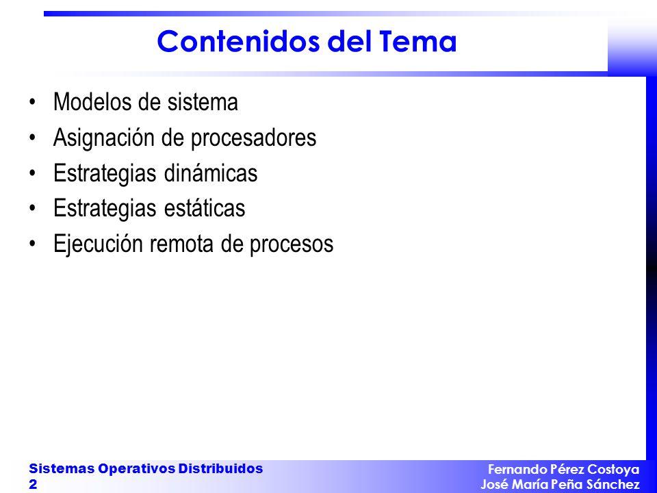Contenidos del Tema Modelos de sistema Asignación de procesadores