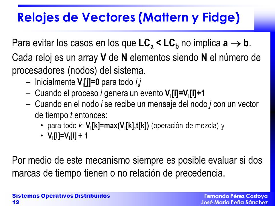 Relojes de Vectores (Mattern y Fidge)