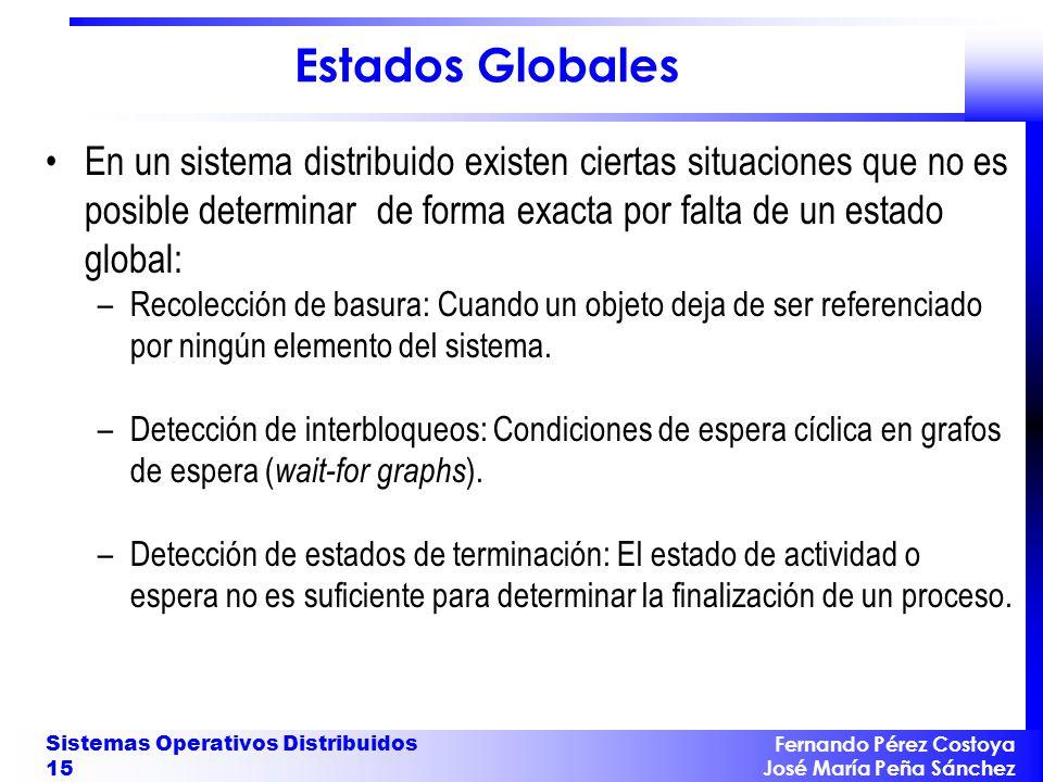 Estados Globales En un sistema distribuido existen ciertas situaciones que no es posible determinar de forma exacta por falta de un estado global: