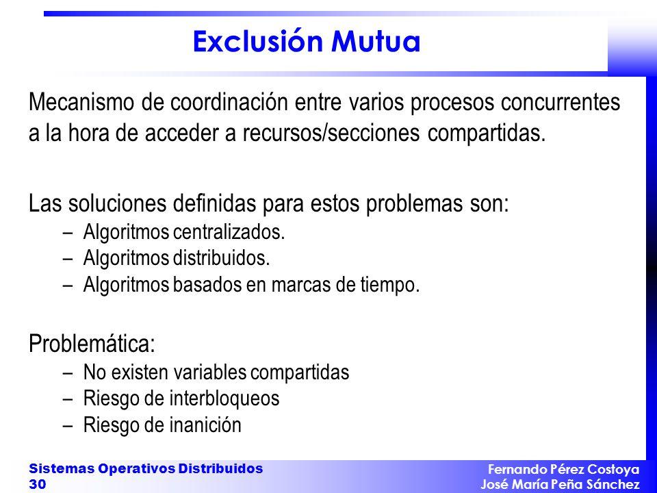 Exclusión Mutua Mecanismo de coordinación entre varios procesos concurrentes a la hora de acceder a recursos/secciones compartidas.