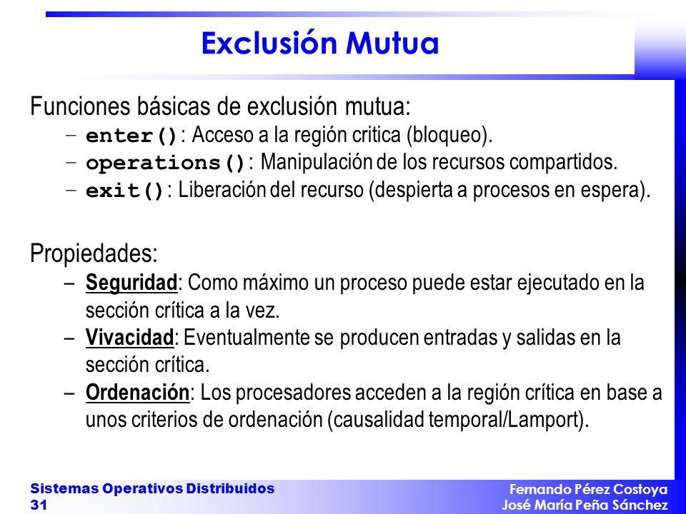 Exclusión Mutua Funciones básicas de exclusión mutua: Propiedades: