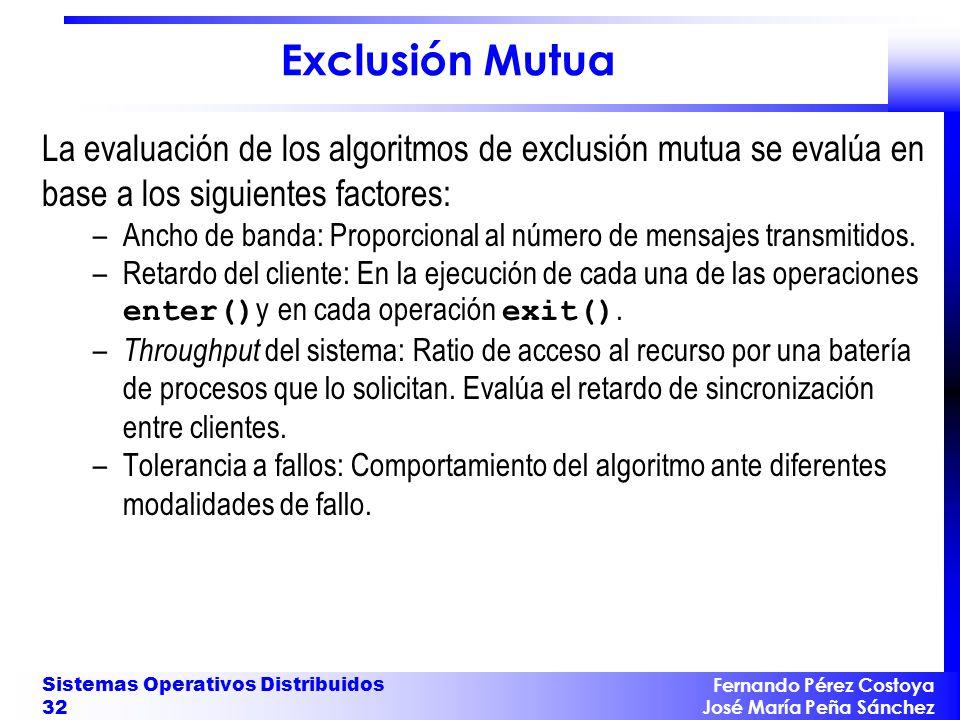 Exclusión Mutua La evaluación de los algoritmos de exclusión mutua se evalúa en base a los siguientes factores: