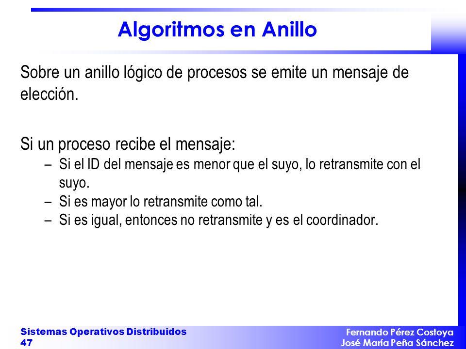 Algoritmos en Anillo Sobre un anillo lógico de procesos se emite un mensaje de elección. Si un proceso recibe el mensaje: