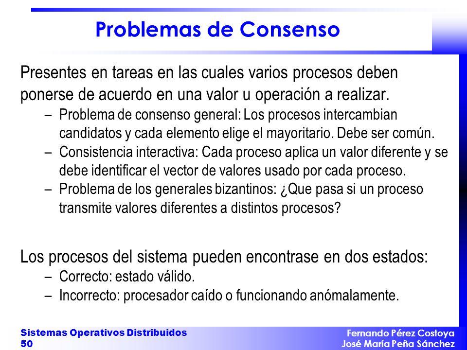 Problemas de Consenso Presentes en tareas en las cuales varios procesos deben ponerse de acuerdo en una valor u operación a realizar.