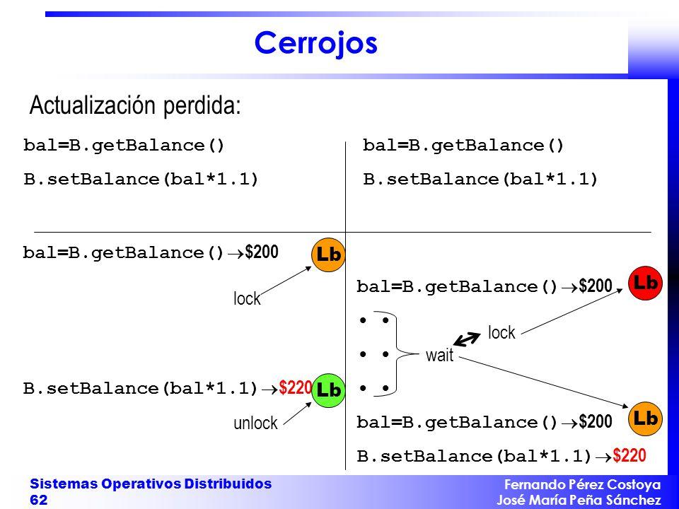 Cerrojos Actualización perdida: bal=B.getBalance()
