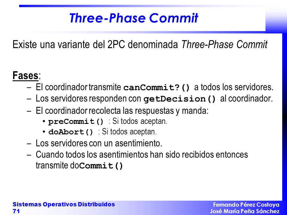 Three-Phase Commit Existe una variante del 2PC denominada Three-Phase Commit. Fases: El coordinador transmite canCommit () a todos los servidores.