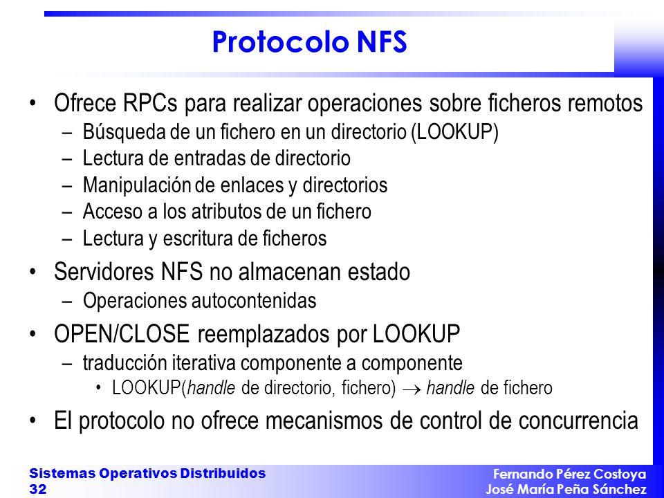 Protocolo NFS Ofrece RPCs para realizar operaciones sobre ficheros remotos. Búsqueda de un fichero en un directorio (LOOKUP)