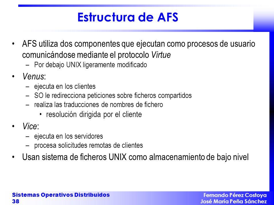 Estructura de AFS AFS utiliza dos componentes que ejecutan como procesos de usuario comunicándose mediante el protocolo Virtue.