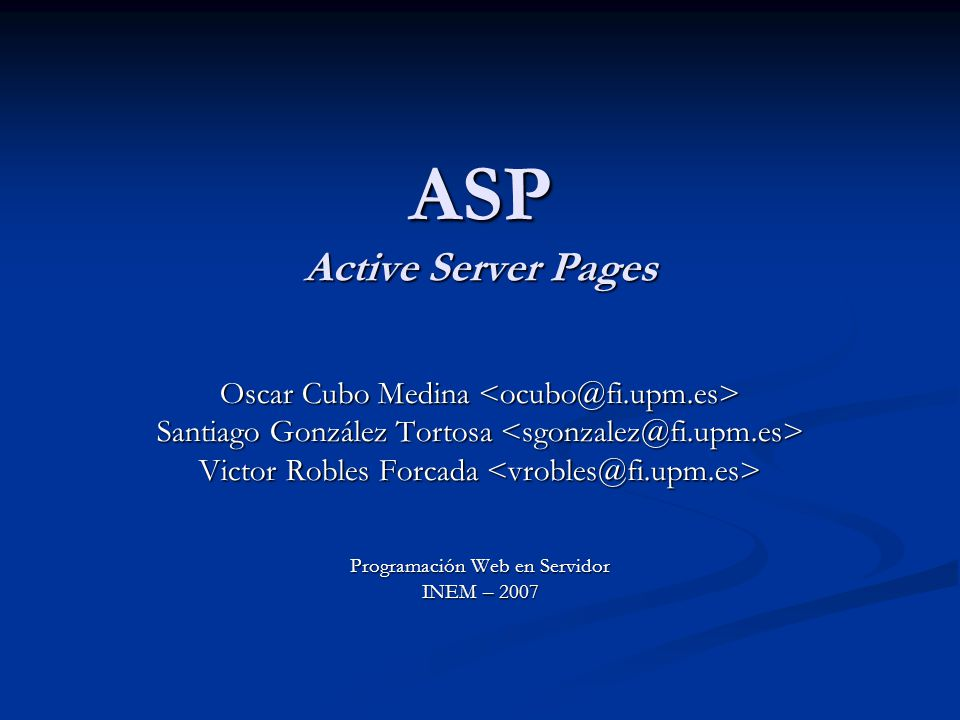 ASP Active Server Pages