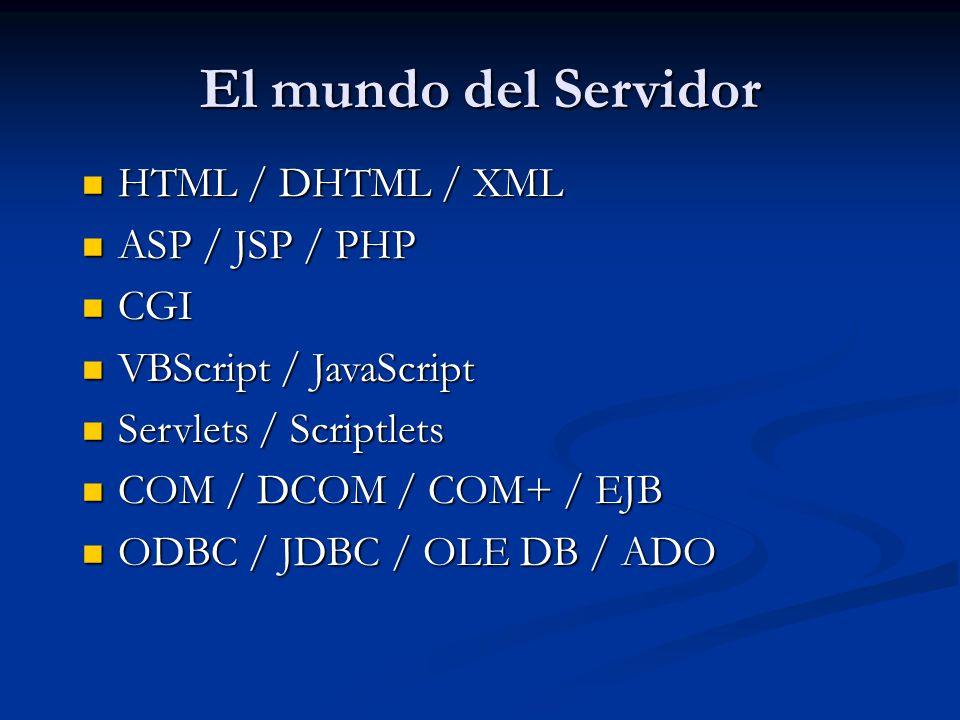 El mundo del Servidor HTML / DHTML / XML ASP / JSP / PHP CGI