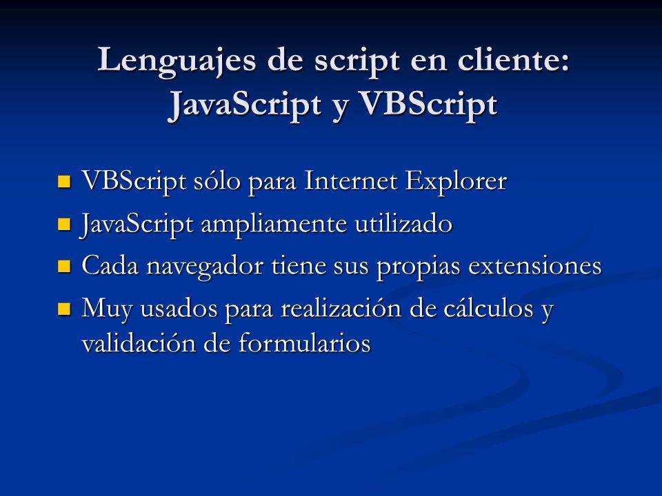 Lenguajes de script en cliente: JavaScript y VBScript