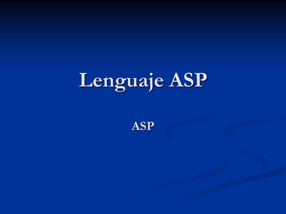 Lenguaje ASP ASP