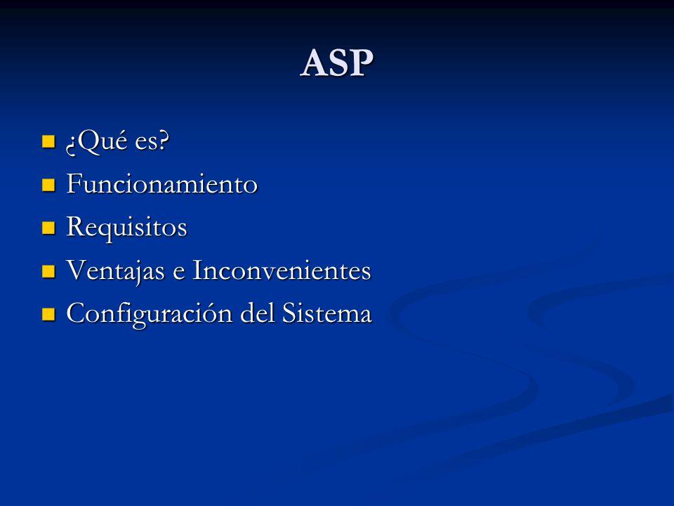 ASP ¿Qué es Funcionamiento Requisitos Ventajas e Inconvenientes