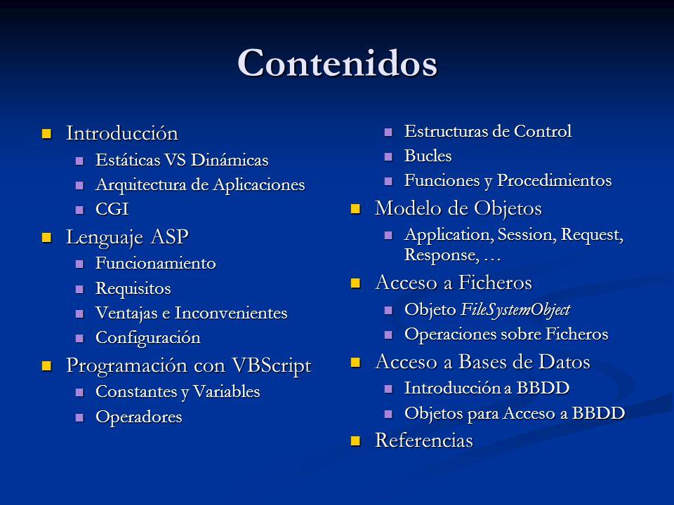 Contenidos Introducción Modelo de Objetos Lenguaje ASP