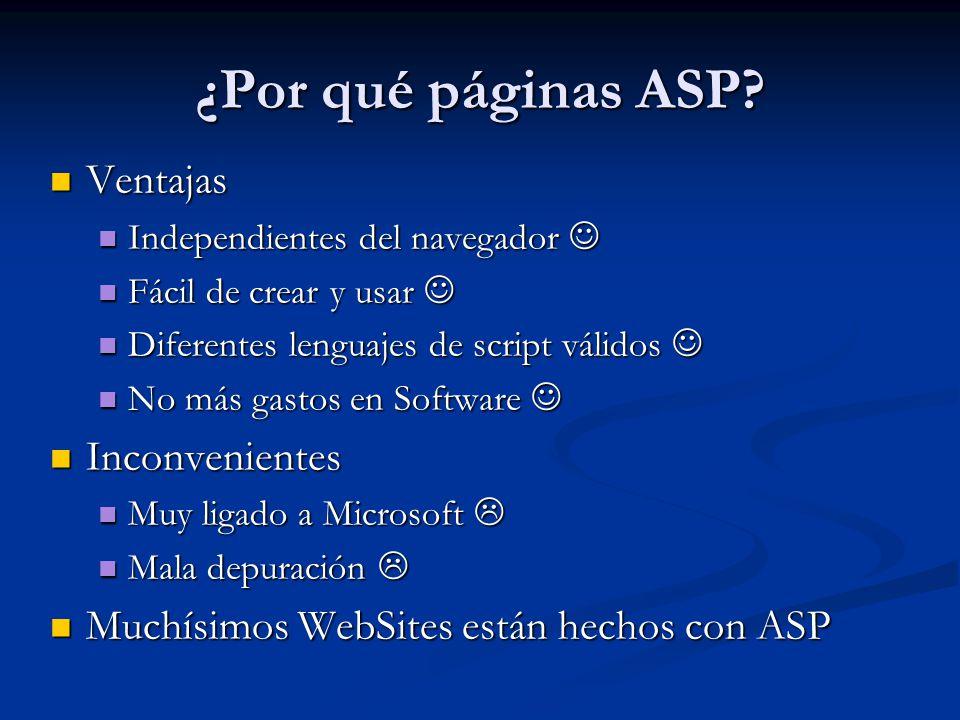 ¿Por qué páginas ASP Ventajas Inconvenientes