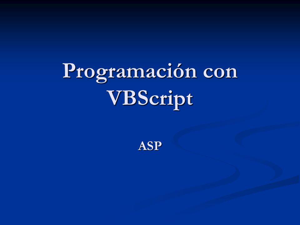 Programación con VBScript ASP