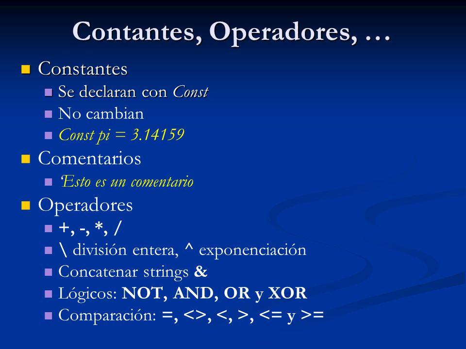 Contantes, Operadores, …