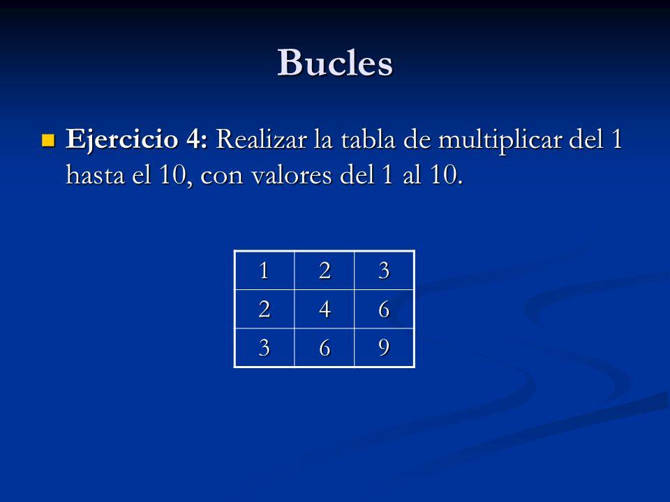 Bucles Ejercicio 4: Realizar la tabla de multiplicar del 1 hasta el 10, con valores del 1 al 10. 1.