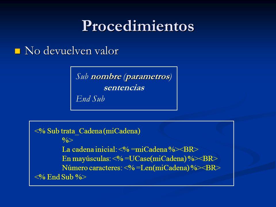 Procedimientos No devuelven valor Sub nombre (parametros) sentencias