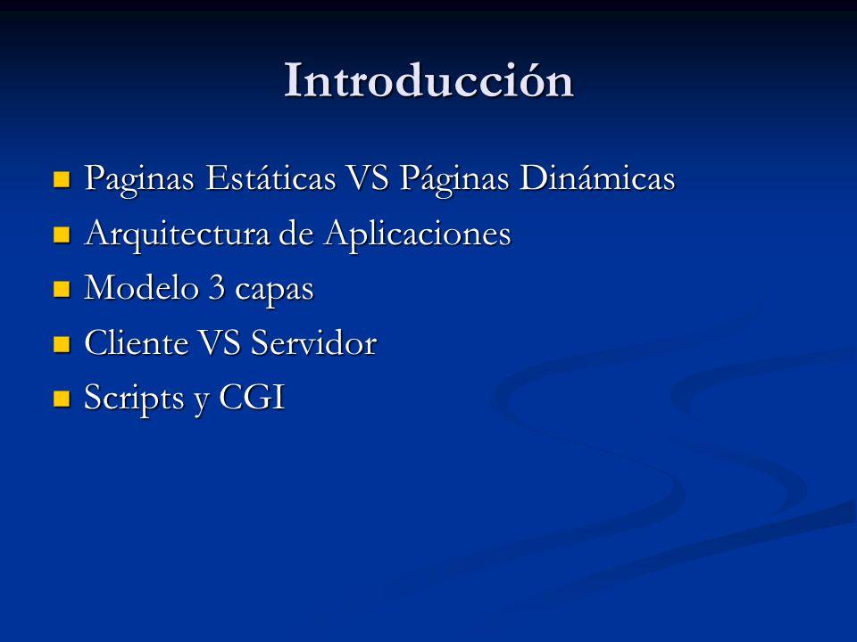 Introducción Paginas Estáticas VS Páginas Dinámicas