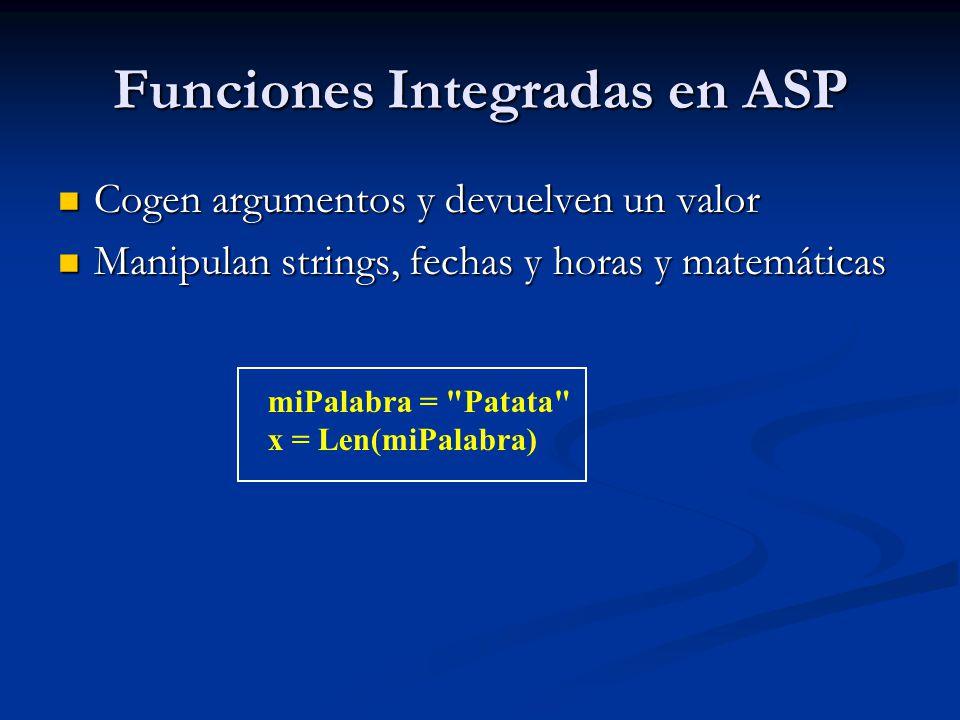 Funciones Integradas en ASP