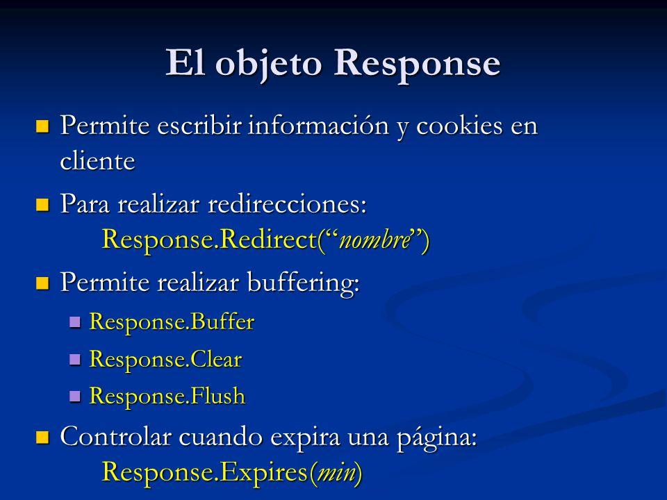 El objeto Response Permite escribir información y cookies en cliente