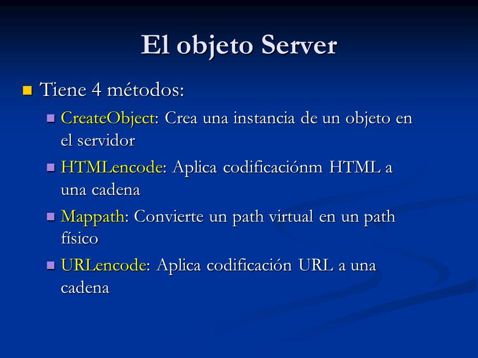 El objeto Server Tiene 4 métodos: