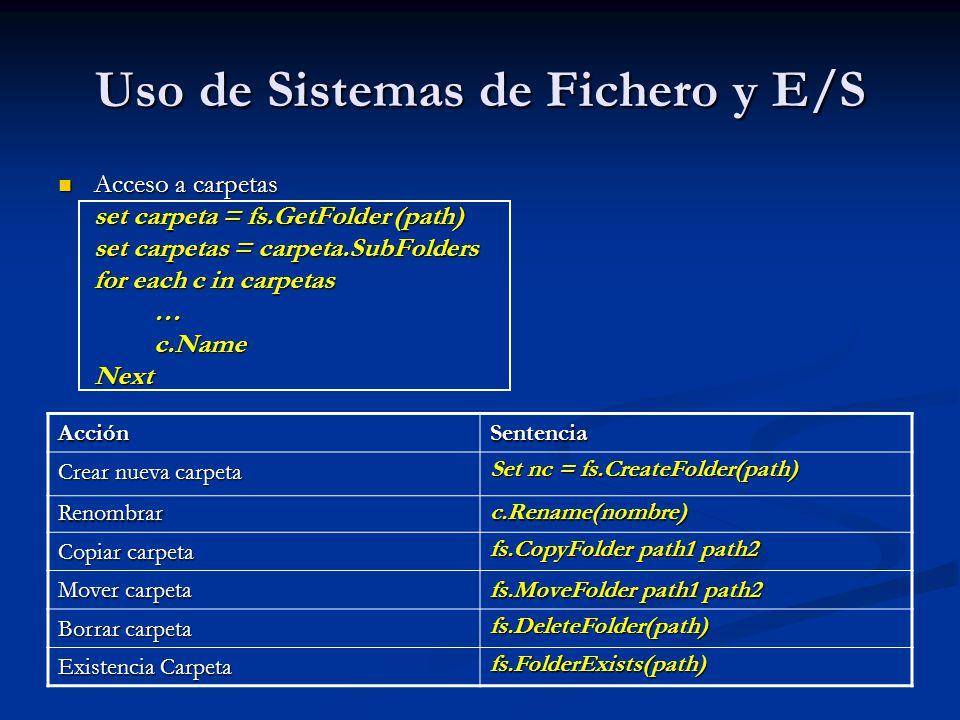 Uso de Sistemas de Fichero y E/S