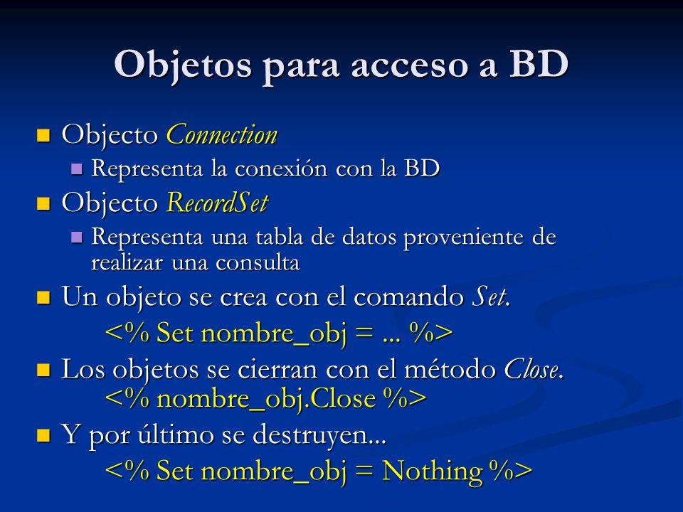 Objetos para acceso a BD