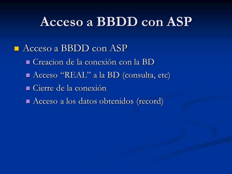 Acceso a BBDD con ASP Acceso a BBDD con ASP