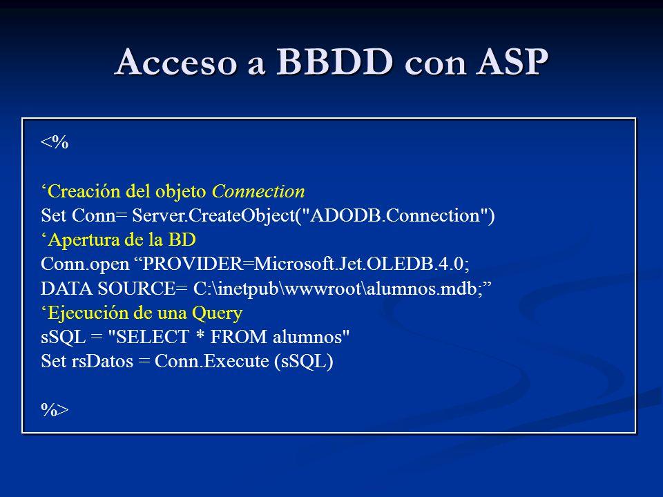 Acceso a BBDD con ASP <% 'Creación del objeto Connection