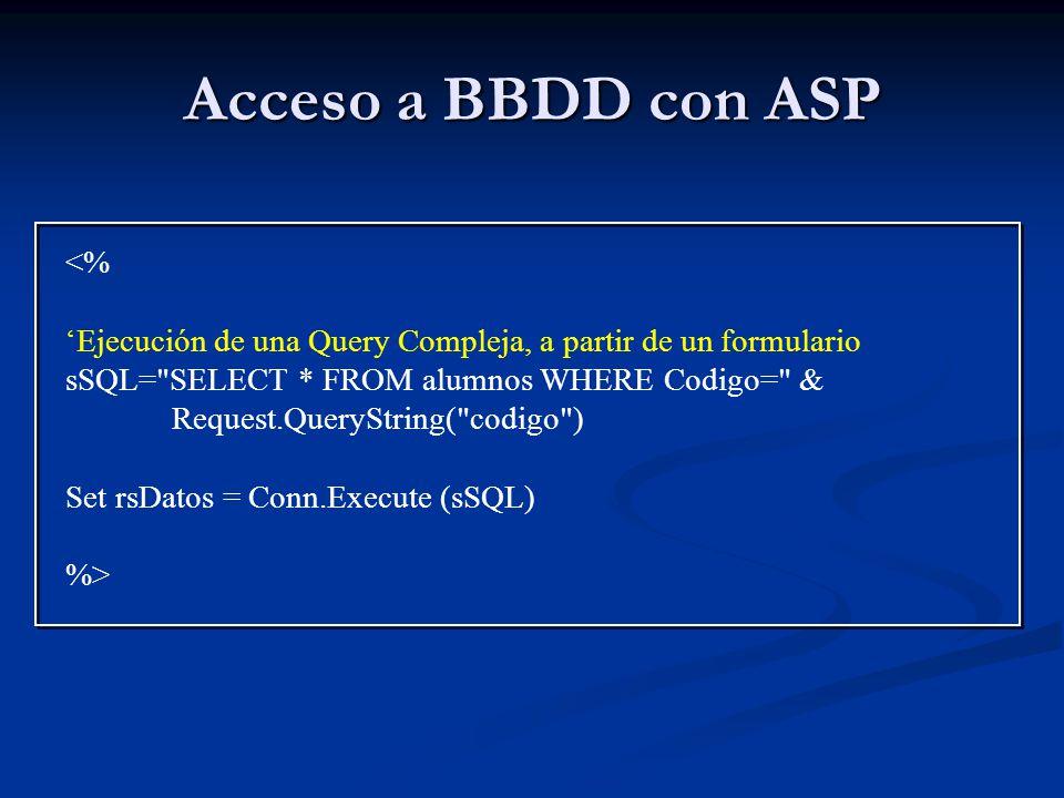 Acceso a BBDD con ASP <%