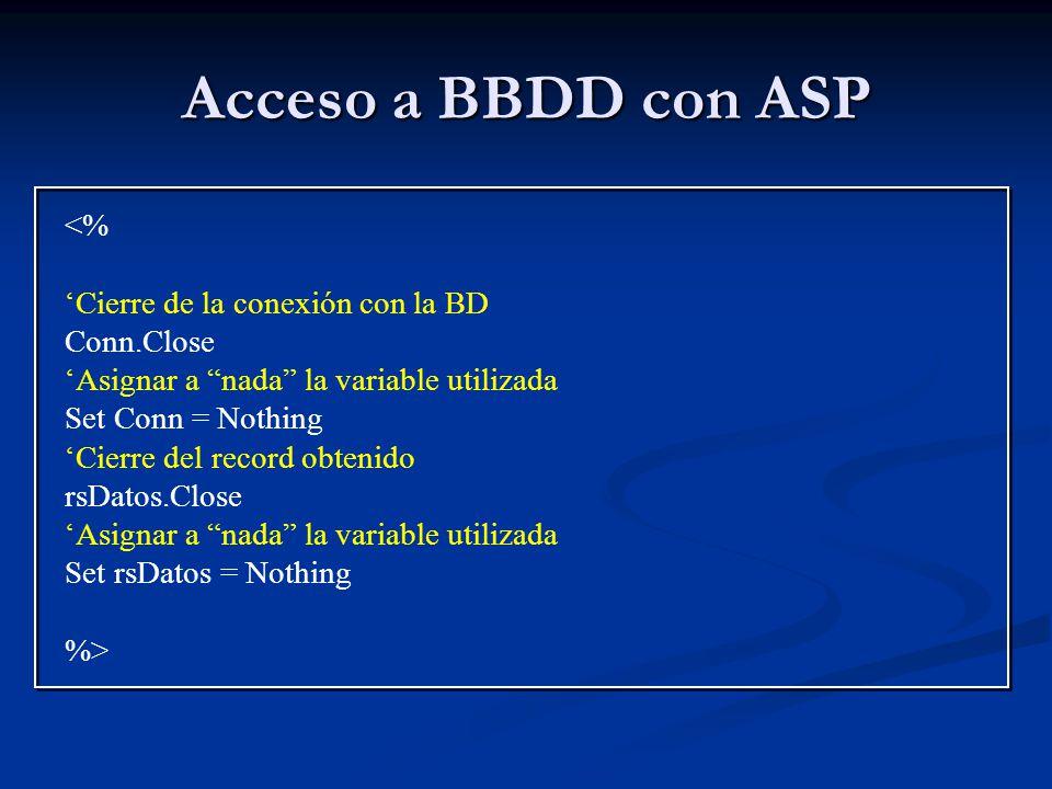Acceso a BBDD con ASP <% 'Cierre de la conexión con la BD
