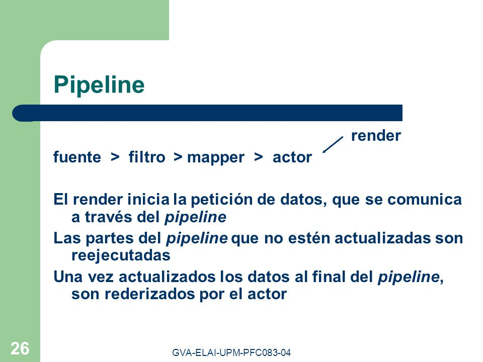 Pipeline render fuente > filtro > mapper > actor