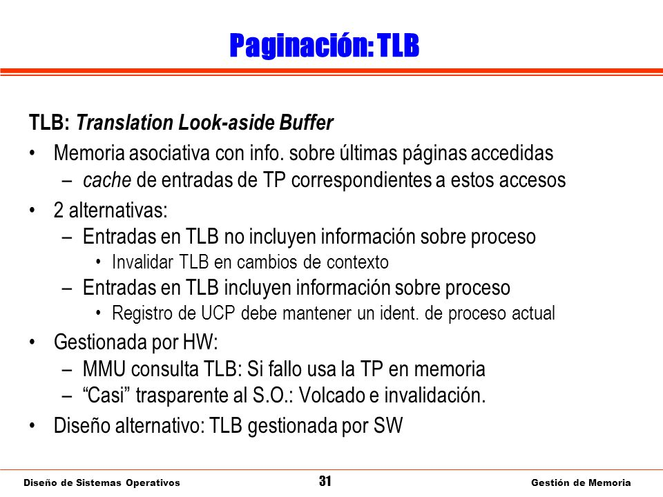 Paginación: TLB gestionada por software