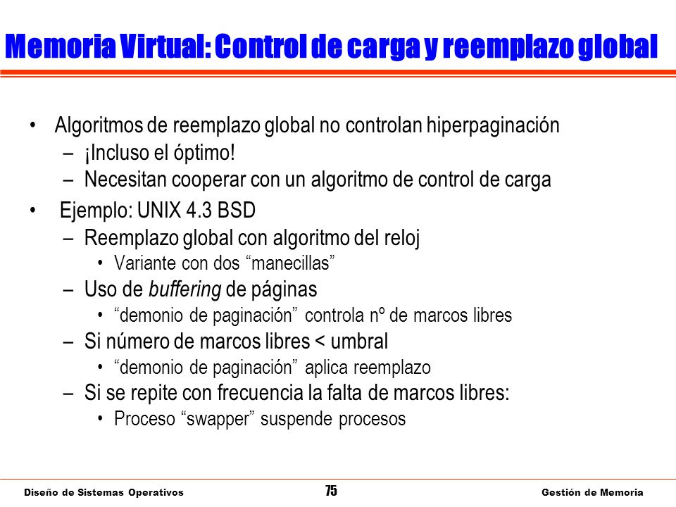 Memoria Virtual: Dispositivo de paginación (swap)