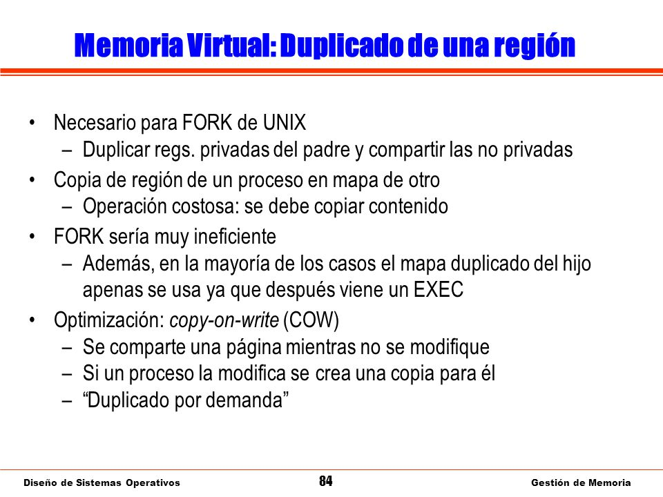 Memoria Virtual: Copy-on-write