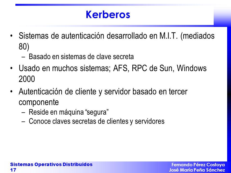 Kerberos Sistemas de autenticación desarrollado en M.I.T. (mediados 80) Basado en sistemas de clave secreta.